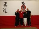 Die KAMINARI-Trainer Udo Seidel, Andrea Freitag, der KAMINARI-Chef André Allerdisse und Meister Mario Goeckler beim Lehrgang