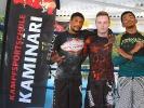 Der Trainer für Grappling bei KAMINARI, Anton Krischer, mit Marvin Castelle und Carlos Guyton von 10th Planet Jiu Jitsu im Mai 2017