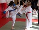 Im Karate-Wettkampf sind auch hohe Tritte zum Kopf erlaubt - natürlich ohne Treffen.
